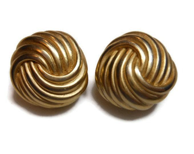 FREE SHIPPING Erwin Pearl earrings, trefoil circle knot earrings, gold tone, award winning designer clip earrings