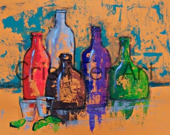 SALE Original painting orange Still Life with tequila bottles impressionistic art acrylic on paper poster size bright colors