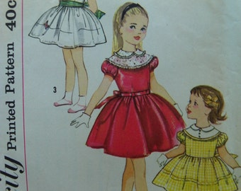 Perfect Party Dress Pattern Simplicity 3249 size 3 1950s