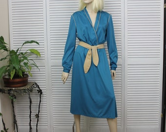 Vintage 1970s Turquoise Blue Day Dress By Lady Carol Size Medium