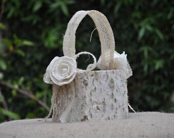 Shabby Chic - Rustic  Flower Girl Basket Wood/birch Bark