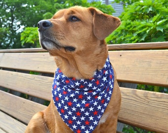 Patriotic stars no tie dog bandana - Goes over collar  - Red white and blue - Small Medium Large