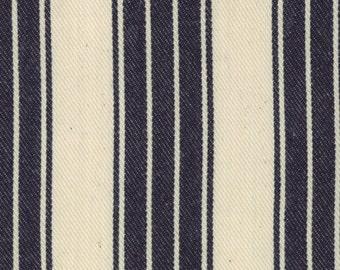 Sale - Indigo Crossing Ticking Stripe in Indigo - Woven Fabric - One Yard - 12213 25 - Minick and Simpson