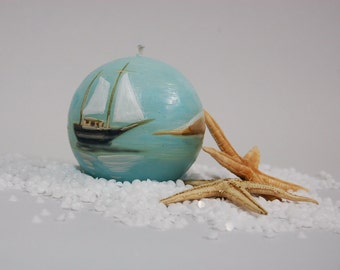 Nautical Candle Ball - Handpainted Candle Ball - Painted Dunes Ocean Sailboat -  Gift for Him - Nautical Decor - Marine Decoration