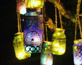 Azure Blue Glass Moroccan Jar Lantern with Dark Pewter Detailing