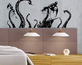 Pirate Ship Attack by Octopus - uBer Decals Wall Decal Vinyl Decor Art Sticker Removable Mural Modern A868