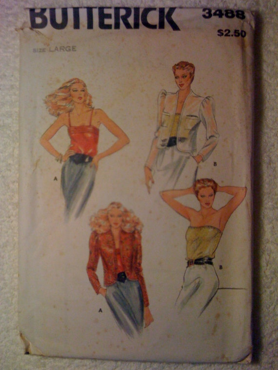 Vintage 70s Butterick Sewing Pattern 3488 Misses Jacket and Camisole Size Large