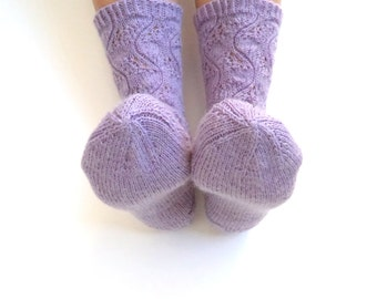 Luxurious hand knit lace socks. Soft and durable wool socks. Lavender lace socks. House socks. Bed socks.