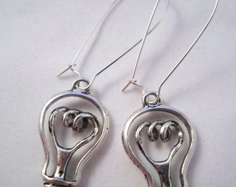 Handmade Light Bulb Earrings, Handmade Nikola Tesla Inspired  Earrings, Handmade Nikola Tesla Jewelry, Handmade Thomas Edison Jewelry