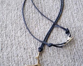 Handmade Men's Hunter Jewelry, Men's Deer Buck  Antler  Necklace with Roach Clip Clasp, Handmade Hunters Jewelry, Handmade Buck Jewelry
