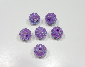 208-4 Perle strass 12mm de diamètre, trou 3mm (6) violet