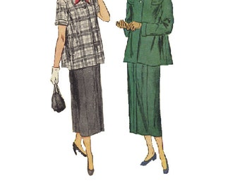 Simplicity 2689 Sewing Pattern 40s Two Piece Suit Swing Coat Flared Duster Jacket House Dress Straight Skirt Bust 30
