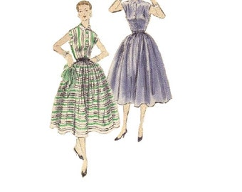 Vogue 7689 Sewing Pattern 1950s Swing Dress Full Circle Skirt Fitted Bodice Tea Dress Casual Day Dress Rockabilly Style Bust 32
