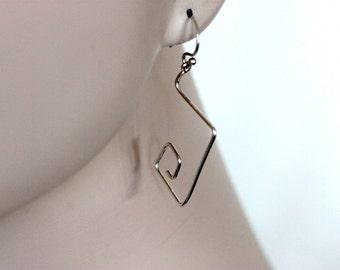 geometric shape sterling silver hoop earrings, contemporary, square spiral hoops, modern handmade by girlthree