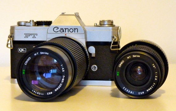 Vintage Canon FT QL 35mm SLR Camera w/ 2 Lenses and a Case