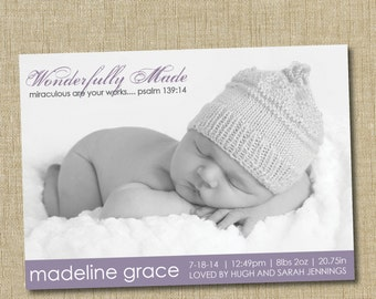 christian birth announcement. custom photo card. photo baby announcement. Wonderfully Made