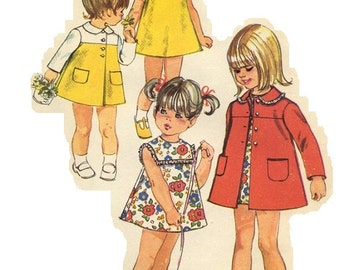 Simplicity 8668 Vintage 60s Adorable Toddler Girl's Coat and Dress Sewing Pattern Size 1