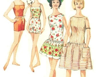 Simplicity 4435 Vintage 60s Juniors Beach Dress - Cover Up & Bathing Suit Sewing Pattern SIze 11 Bust 31 32