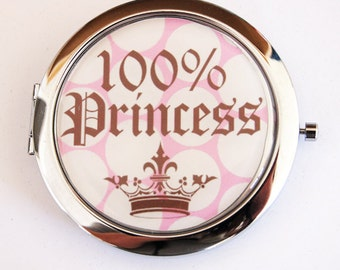 Princess compact mirror, mirror, purse mirror, compact mirror, pocket mirror, Princess, 100 Percent Princess, pink, polka dot (2134)