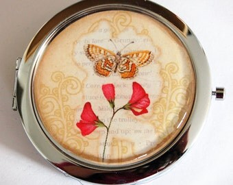 Flower mirror, compact mirror, Butterfly compact mirror, mirror, purse mirror, pocket mirror, gift for her  (2212)