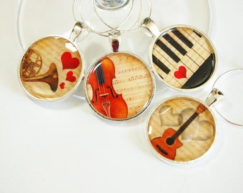 Music Wine Charms, Musical Instruments, Wine Glass Charms, Wine Charms, silver plated, barware, entertaining, table setting, music (2520)