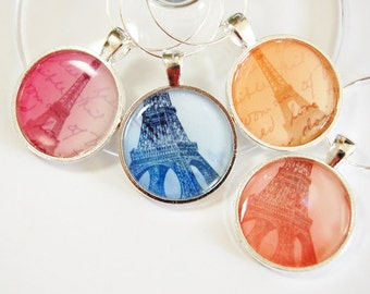 Paris Wine Charms, Wine Glass Charms, Wine Charms, eiffel tower, barware, entertaining, table setting, Paris, pastel colors (2521)