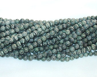 "Green Zebra Jasper 8mm Round Gemstone Beads - 15.50"" Strand"