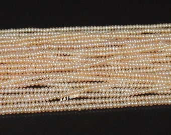 "Freshwater Pearl Light Peach 2.5-3mm Seed Beads - 16"" Strand"