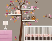 Shelf Tree Decal - Choose 5 Leaf Colors for your Tree Wall Decal to Match Your Crib Bedding - Nursery Decor Wall Decal
