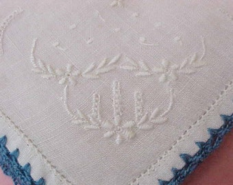 Most Charming Vintage Handkerchief with White on White Embroidery and Deep Blue Crochet Edge