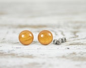 GOLDEN NUGGET - Sweet Tooth Studs - Gold - Golden Yellow Shimmer Post Earrings by Blissful Bird Studio