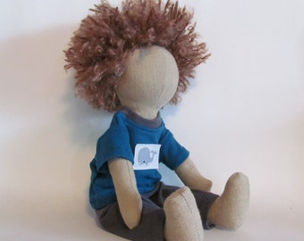 """Jack doll, Holding up the Universe, 11"""" Eco-friendly hemp doll with light brown hair and whale shirt"""