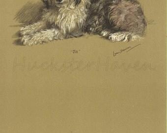 SHEEPDOG - 1940s  Lucy Dawson, Dog Print, Wall Decor,  Animal Print, Art Print, Illustration to Frame, plate, brown black, B-4