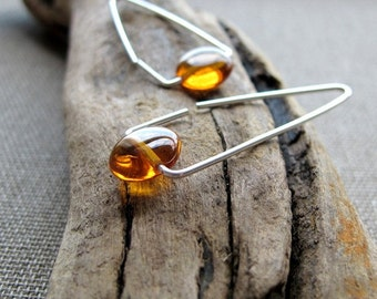 Triangle Hoop Earrings & Amber. Sterling Silver Earrings. Gemstone Elegant Earrings. Amber Earrings. Geometric Jewelry. Minimalist Earrings