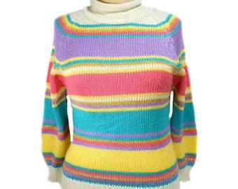 vintage 1980s striped sweater / Trousers Up / pastel metallic / mock turtleneck / women's vintage sweater / size medium