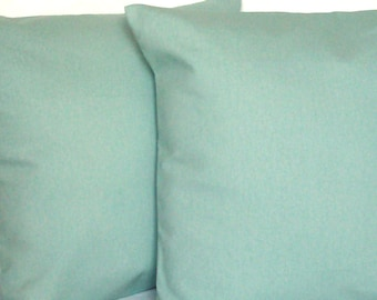 Solid Spa Blue Throw Pillow Cover, 18x18 or 20x20 inch Decorative Cushion Cover - Aqua Blue Solid, More Sizes Available