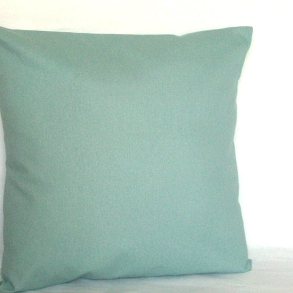 Spa Blue Pillow Cover 18x18 or 20x20 inch Solid Decorative