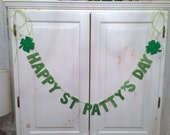 Happy St. Patty's Day Glitter Banner -- St. Patrick's Day Decoration / Photo Prop