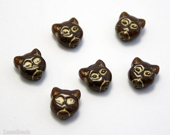 Cat Head Beads 12mm (10) Milk Chocolate Caramel Brown with Gold Opaque Czech Pressed Glass last