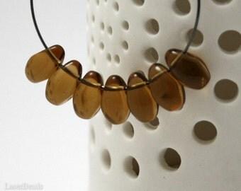 Czech Teardrop Beads 12mm (20) Glass Topaz Brown last