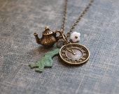 Alice in Wonderland Necklace Fairytale Necklace Rabbit Necklace Teapot Necklace Charm Necklace Alice Jewelry Fable Jewelry Steampunk Clock