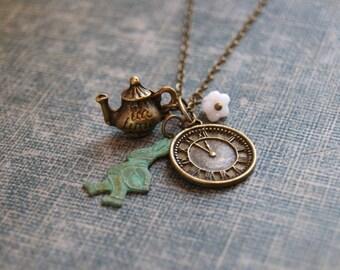 Alice in Wonderland Necklace Fairytale Necklace Rabbit Necklace Teapot Necklace Charm Necklace Alice Jewelry Fable Jewelry Steampunk Clock
