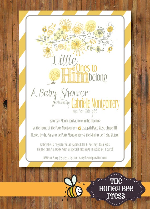 Baby Shower Invitation ... Little Ones to Him Belong Baby Shower Invitation - Yellow and Grey Design, other colors available - Item 0105BS3