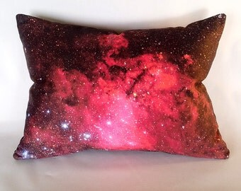 Pink Galaxy Star System Pillow Cover - NASA Outer Space Satellite Photo on Fabric; pink, red, black