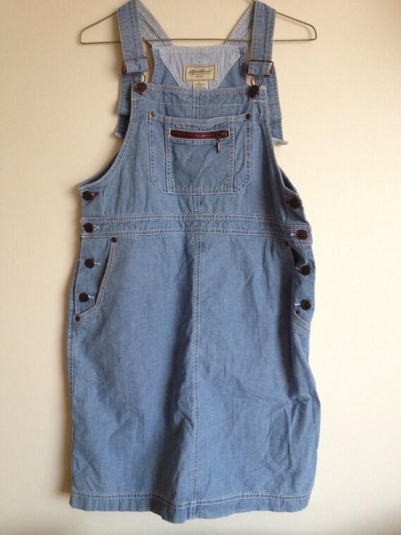 Vintage 90s Denim Jumper Overalls dress kitsch grunge small