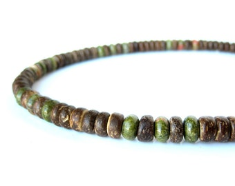 "Men's wood necklace - camo green gemstone and wood necklace for men. ""Camo"""