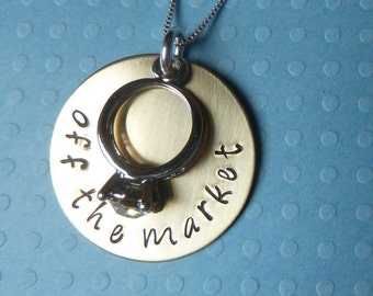 Off the Market Hand Stamped Brass Necklace with Diamond Ring Charm