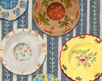 Decorative Wall Plates - Print of Original Pen and Marker Art 2