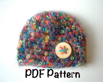 PATTERN:  Softee Beanie, easy crochet PDF, Instant Digital Download, Sizes newborn to Adult, Permission to Sell