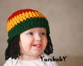 Baby Hats Rasta Beanie Baby Wig Photo Props Toddler Costume Photography Prop Yellow Rasta Baby Rasta Dreads Black Dreadlocks Baby Wig
